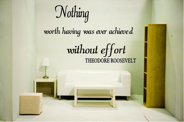 Nothing worth having was ever achieved without effort -TR
